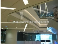 Fire resistant glass hanging wall